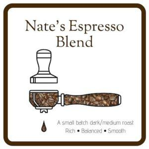 Nate's Espresso Blend: An Espresso Portofilter illustration colored in with coffee beans