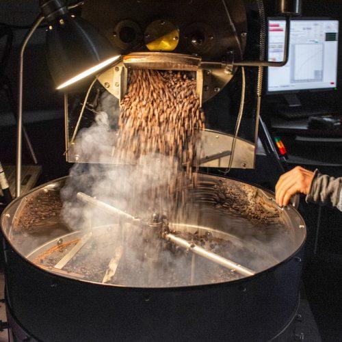 Dark roast coffee freshly finishing